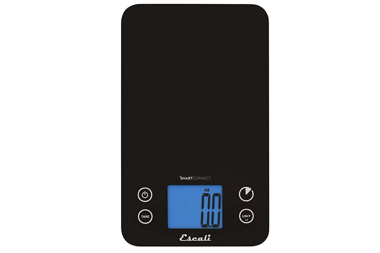 Escali Smart Connect Bluetooth Kitchen Scale, Black, 11 lb SC115KS