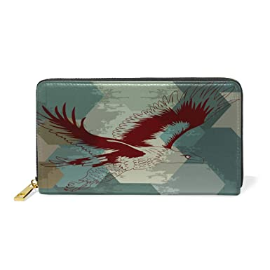 Amazon.com: Eagle Flying Bird Art Cartera de piel real con ...