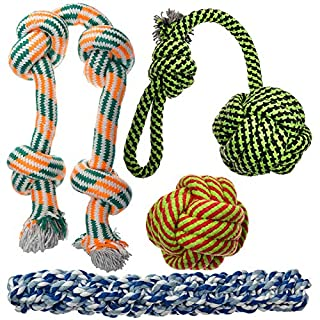 XL Dog Rope Toys for Aggressive Chewers - 4 Nearly Indestructible Chewing Ropes - Durable Heavy Duty Dog Toys - Large Dog Toys - Tough Dog Chew Toys Set - Tug of War Dog Toys for Big Breed Dogs