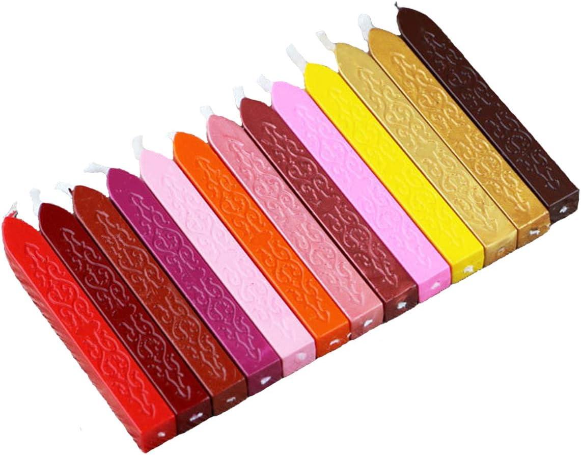 Coffret de sceau /à la cire avec lettres de lalphabet vintage 24 b/âtons de cire color/és.