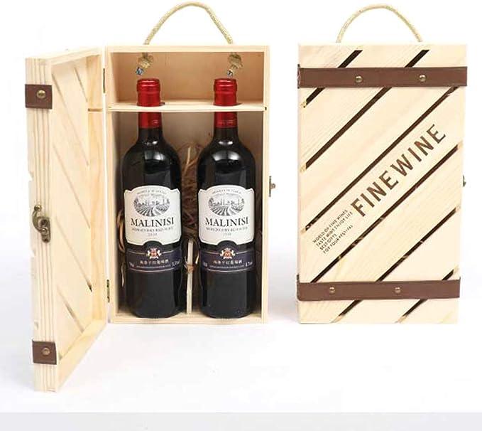 Compra TFACR Estuche de Vino de Madera Vintage - Caja de Vino de Madera para Regalo de Bodas de Navidad, Estuche de Almacenamiento de Botellas de Vino con Mango y Cierre, B