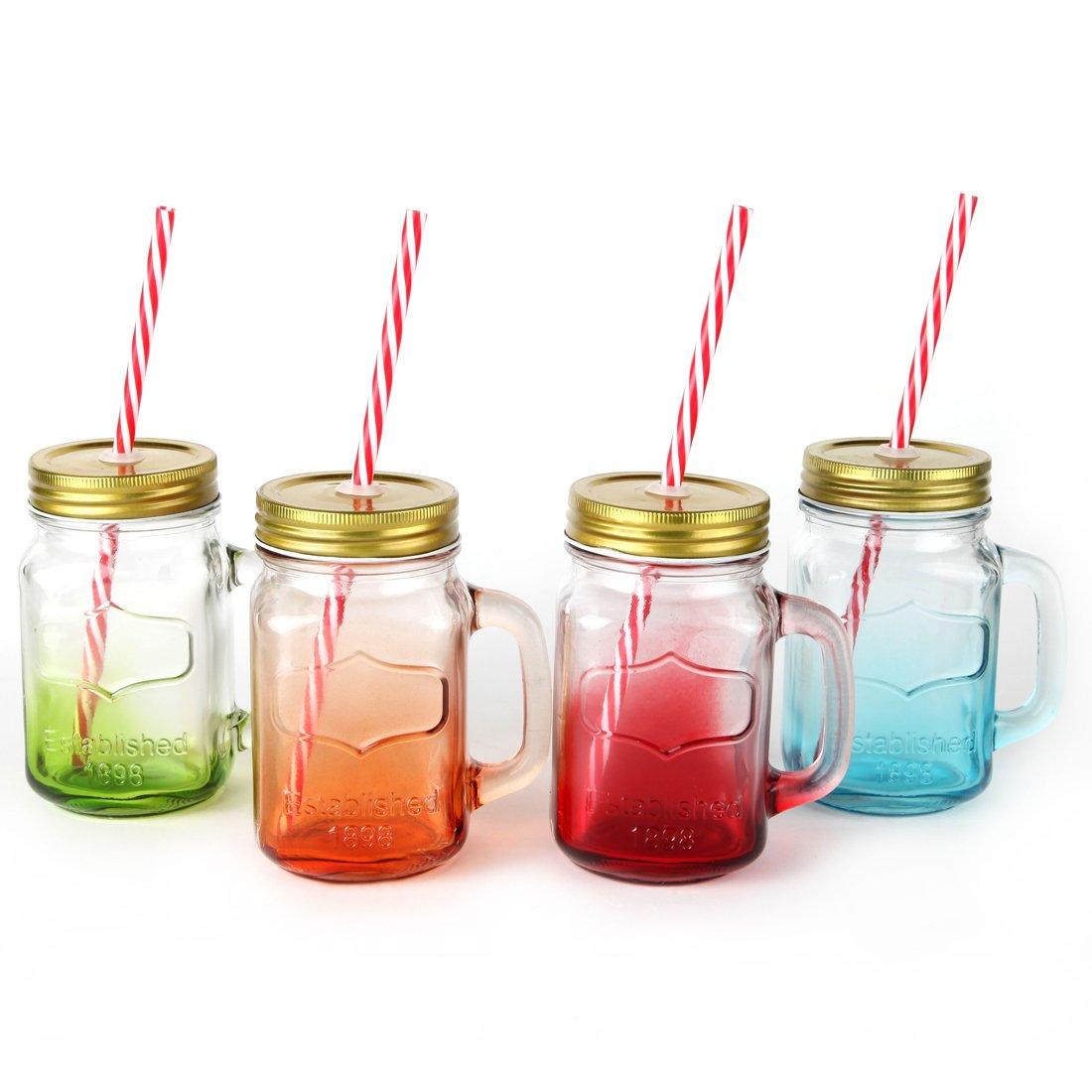 Amazon.com | Mix Colors Mason Jar Mugs with Tin Lid and Plastic ...