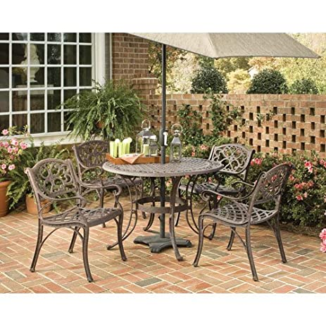 Home Styles 5555 308 Biscayne 5 Piece Outdoor Dining Set, Rust Bronze Finish