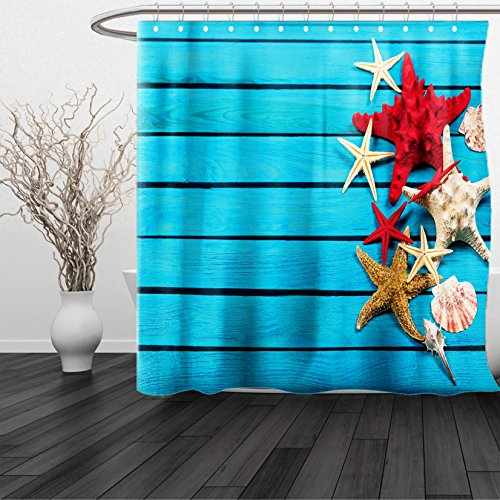 HAIXIA Shower Curtain Starfish Different Types of Starfishes Scallops on Blue Painted Wooden Planks Image - Dwayne Sunglasses Johnson