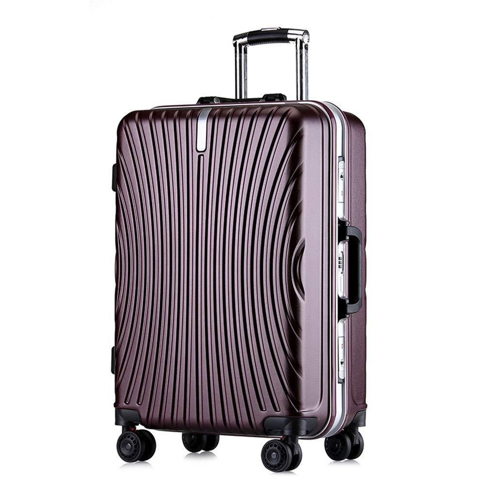 スーツケース シングルピースハードシェル微調整旅行荷物スーツケースライトポータブルでコラムスーツケースサイレントローテーター多方向航空機飛行 週末にスーツケースを運ぶ (色 : 紫の, サイズ : 24inches) B07SY7CBYG