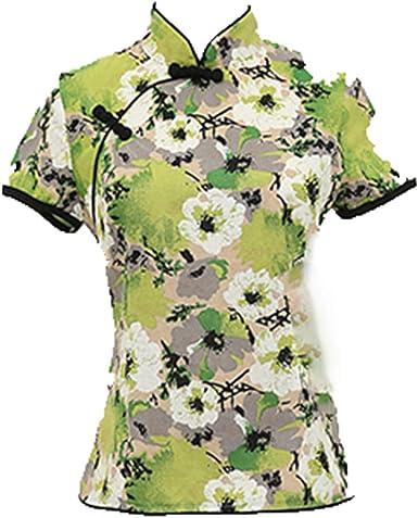 Auspiciousi Cheongsams Tops Mujeres Tangshow Nuevo Algodón Lino Tradición China Camisa Delgada de Blusas de Mujer: Amazon.es: Ropa y accesorios