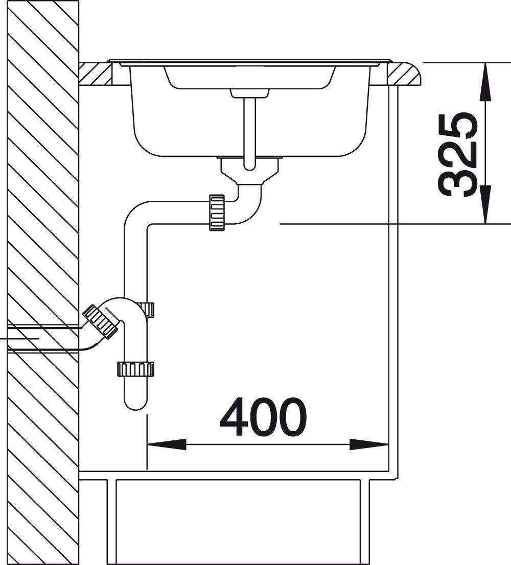 Blanco 516997 Tipo 6 S Basic Mini-/évier en inox Naturfinish /à bac r/éversible pour un meuble de 60 cm Argent/é