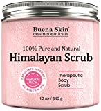Himalayan Salt Body Scrub With Lychee Fruit Oil | All Natural Cleansing Exfoliator With Sweet Almond Oil Promoting Radiant Skin 12 oz By Buena Skin (Himalayan)