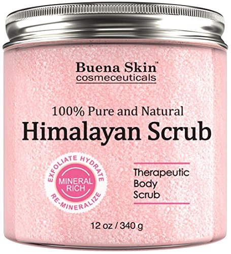 Buena Skin Himalayan Salt Body Scrub With Lychee Fruit Oil | All Natural Cleansing Exfoliator With Sweet Almond...