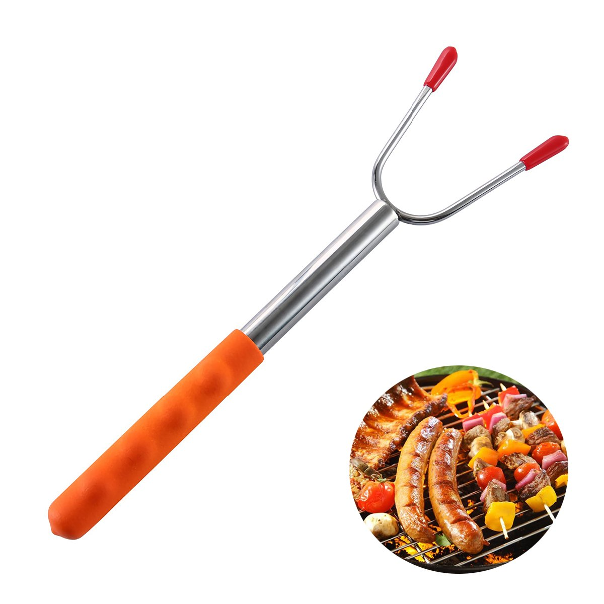 Dpijer Marshmallow Roasting Sticks Telescoping Skewers Stainless Steel Extendable BBQ Hot Dog Fork Outdoor For Camping,Campfire,Bonfire Kids,Extra Long 3.75 FT-45''