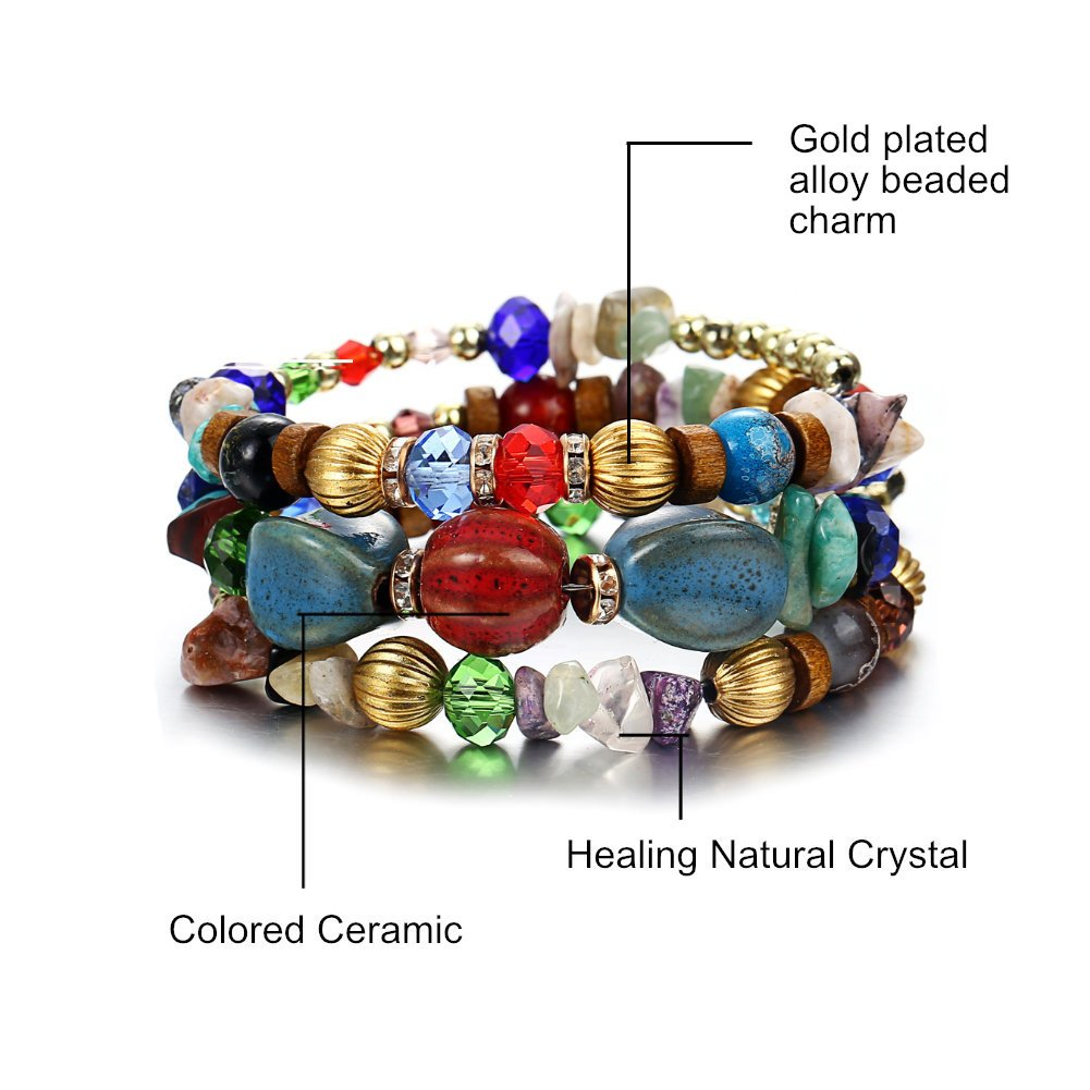 ISAACSONG.DESIGN Bohemian Multilayer Healing Stone Crystal Beads Charm Tribal Wrap Bangle Bracelet for Women (2 Pcs Colorful Beaded) by ISAACSONG.DESIGN (Image #4)