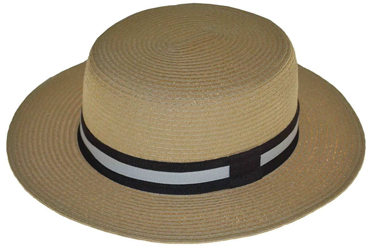 NH 2 Brim Rounded Summer Fedora Hat with Brown Band L//xl