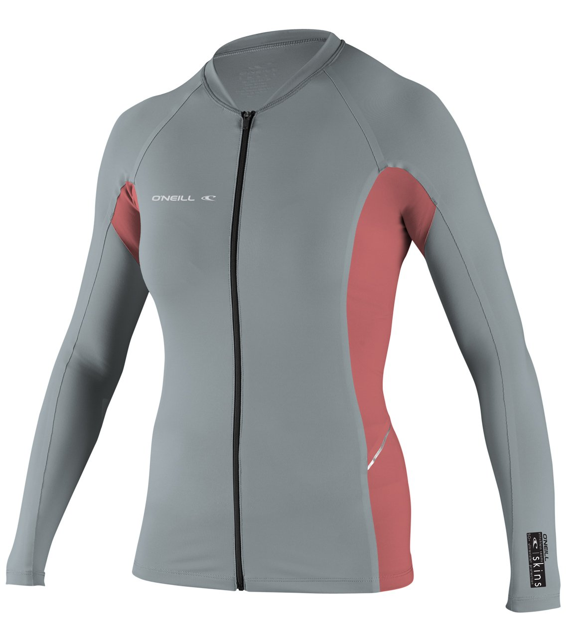 O'Neill Women's Premium Skins Stitchless UPF 50+ Long Sleeve Full Zip Jacket, Cool Grey/Coral, Large