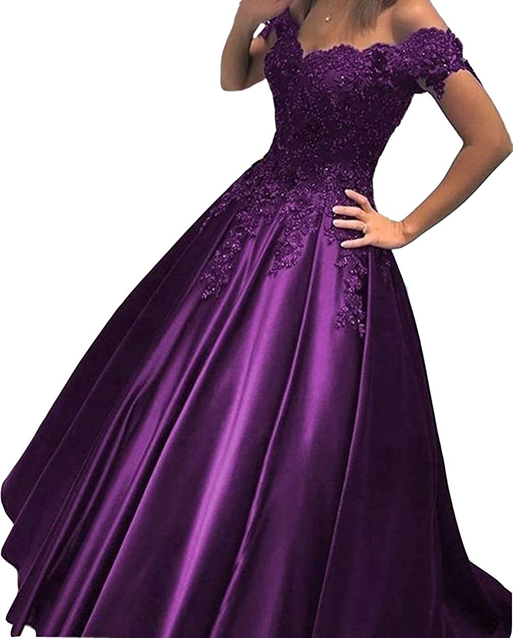 Purple FTBY Off Shoulder Prom Dress Satin Long Evening Party Dress Formal Gown for Women Lace Appliqued