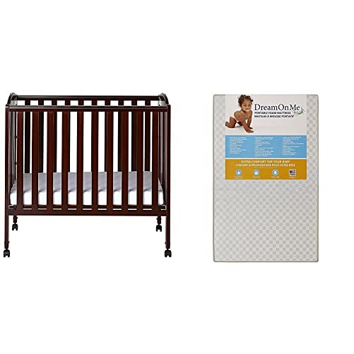 Dream On Me 3 in 1 Portable Folding Stationary Side Crib with Dream On Me 3 Portable Crib Mattress, White