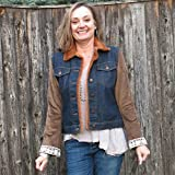 Satin Corduroy + Lace Sleeved Mixed Media Dark Blue Denim Jacket