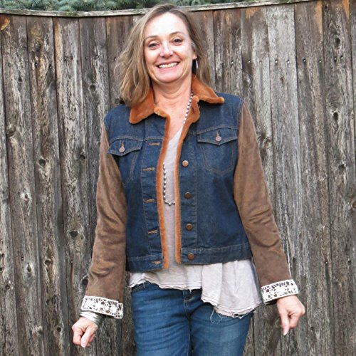 Satin Corduroy + Lace Sleeved Mixed Media Dark Blue Denim Jacket by Diana by design