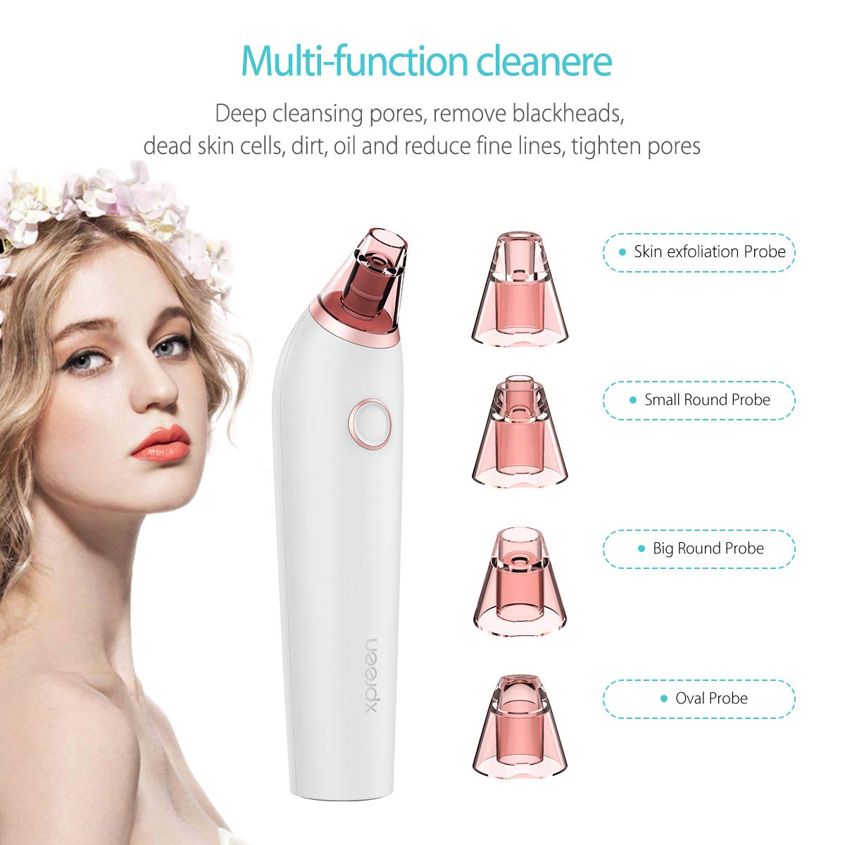 Blackhead Remover, Xpreen Pore Vacuum with 4 Multi-Functional Probe, Pore Cleaner for Acne,Fett Facial Blackhead Vacuum White