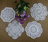 Crochet Doily Placemats Square Round 4 Designs Cup Mat Pad 16-20Cm Crochet Applique 40Pcs/Lot