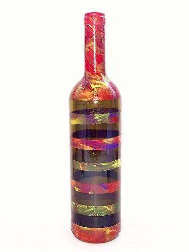 Botella decorativa de vidrio reciclado pintura acrílica y 20 ...