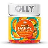 Olly Hello Happy Gummy Worms Mood Vitamins! 60 Gummies Tropical Zing Flavor! Formulated Vitamin D & Saffron! Support A Positi