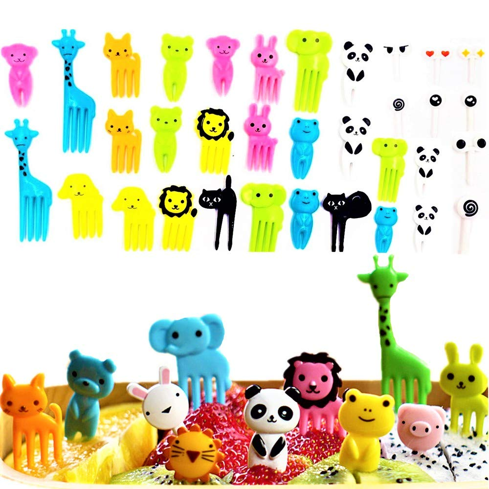 (Set of 36) JeVenis Cute Animals Food Fruit Picks Forks Bento Box Lunch Box Decorative Animals Mini Cartoon Toothpick Bento Lunch