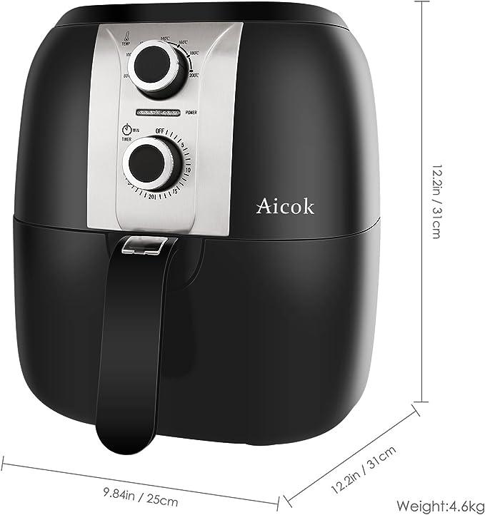 Aicok AirFryer, Freidora sin Aceite por Aire Caliente, Fríe, Tuesta, asa y Hornea, Capacidad 3.5L, 1400 W, Color Negro: Amazon.es
