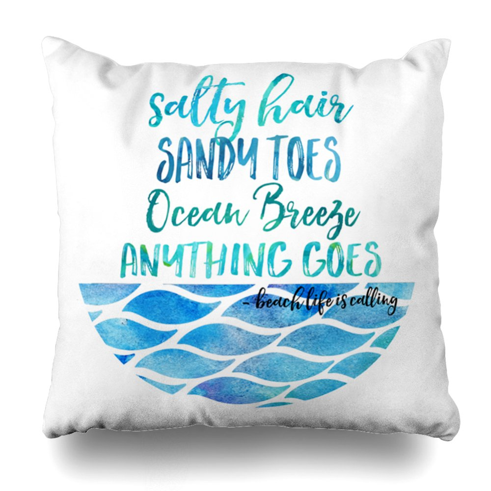 ONELZ Ocean Quote Square Decorative Throw Case, Fashion Style Zippered Cover (20X20 inch)