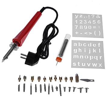 Starnearby 30pcs 30W soldador eléctrico Kit de hierro quemado madera pluma pirografía herramienta de manualidades: Amazon.es: Bricolaje y herramientas