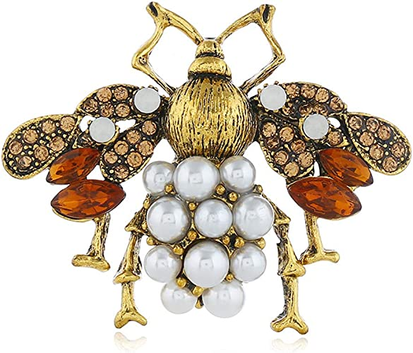 Vintage Gold Crystal Rhinestone Bee Animal Brooch Pin Pendant Necklace Gift