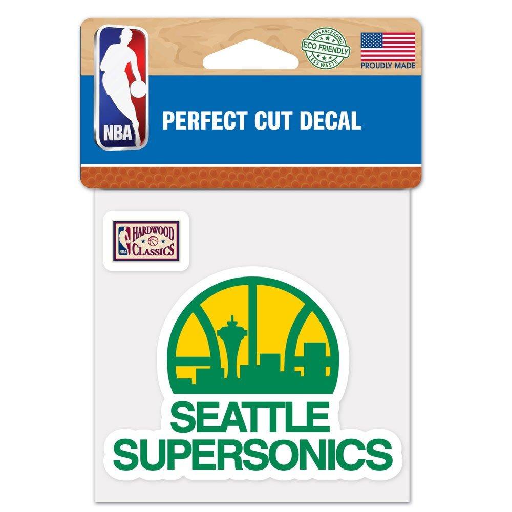 "NBA Seattle Supersonics  97499013 Perfect Cut Color Decal 4/"" x 4/"" Black"