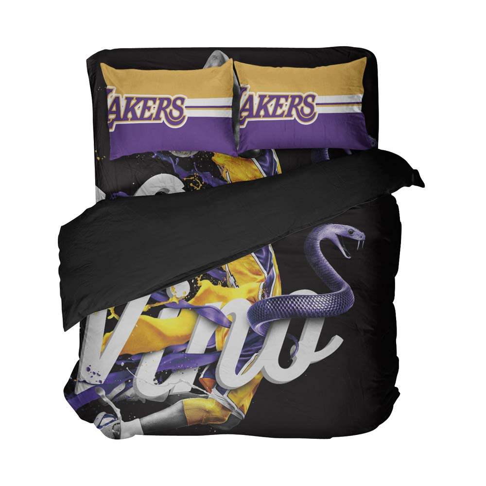 Magaport Los Angeles Bedding Basketball Bed Sheets Sports Player Duvet Cover 3D Printed Besheet Sets Quilt Coverlet King for Men (Purple, Full 4pcs)