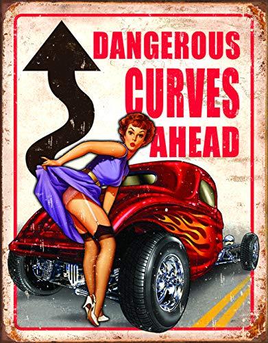 Desperate Enterprises Legends – Dangerous Curves Ahead Tin Sign, 12.5″ W x 16″ H
