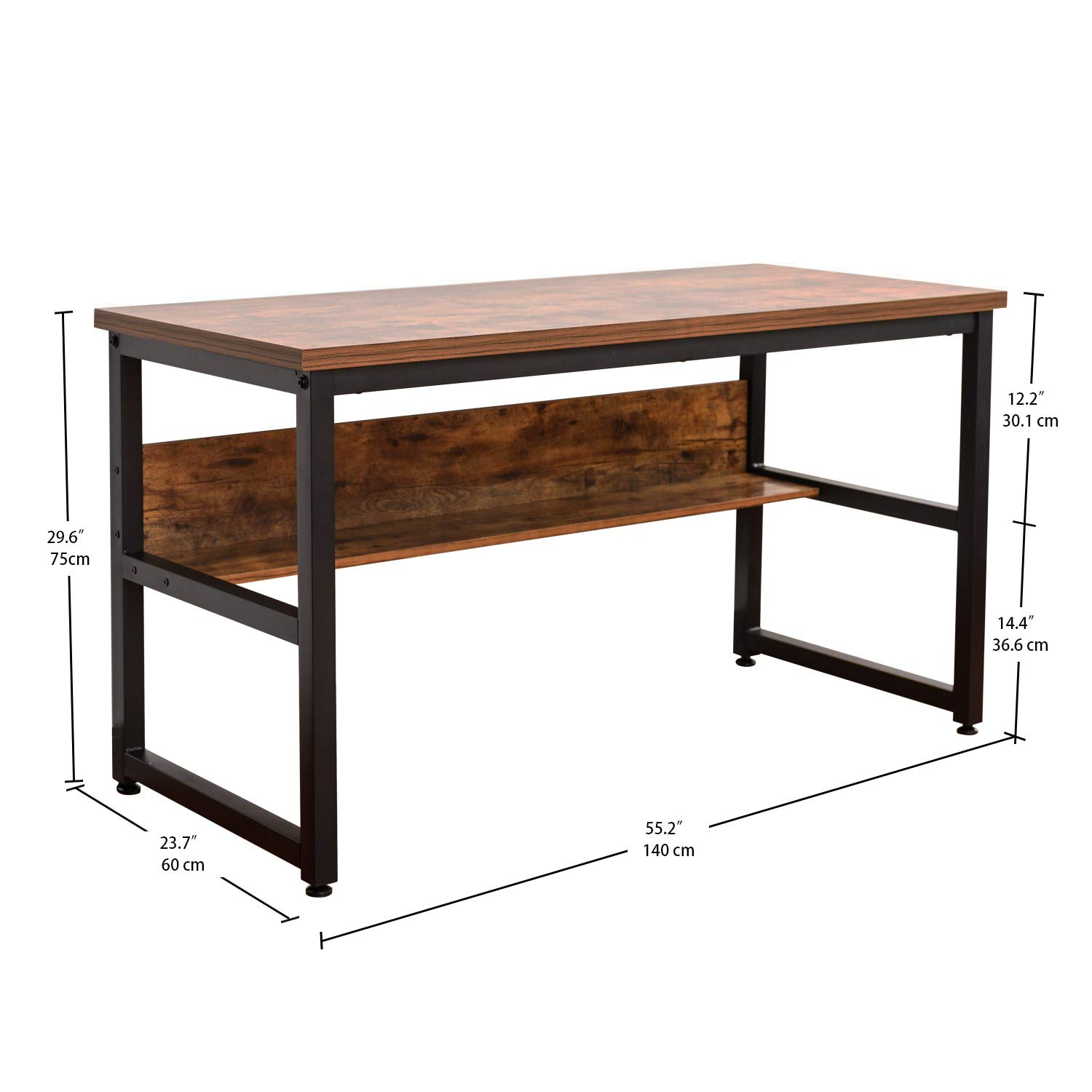 IRONCK Computer Desk 55'' with Bookshelf, Office Desk, Writing Desk, Wood and Metal Frame, Industrial Style, Study Table Workstation for Home Office Furniture by IRONCK (Image #3)