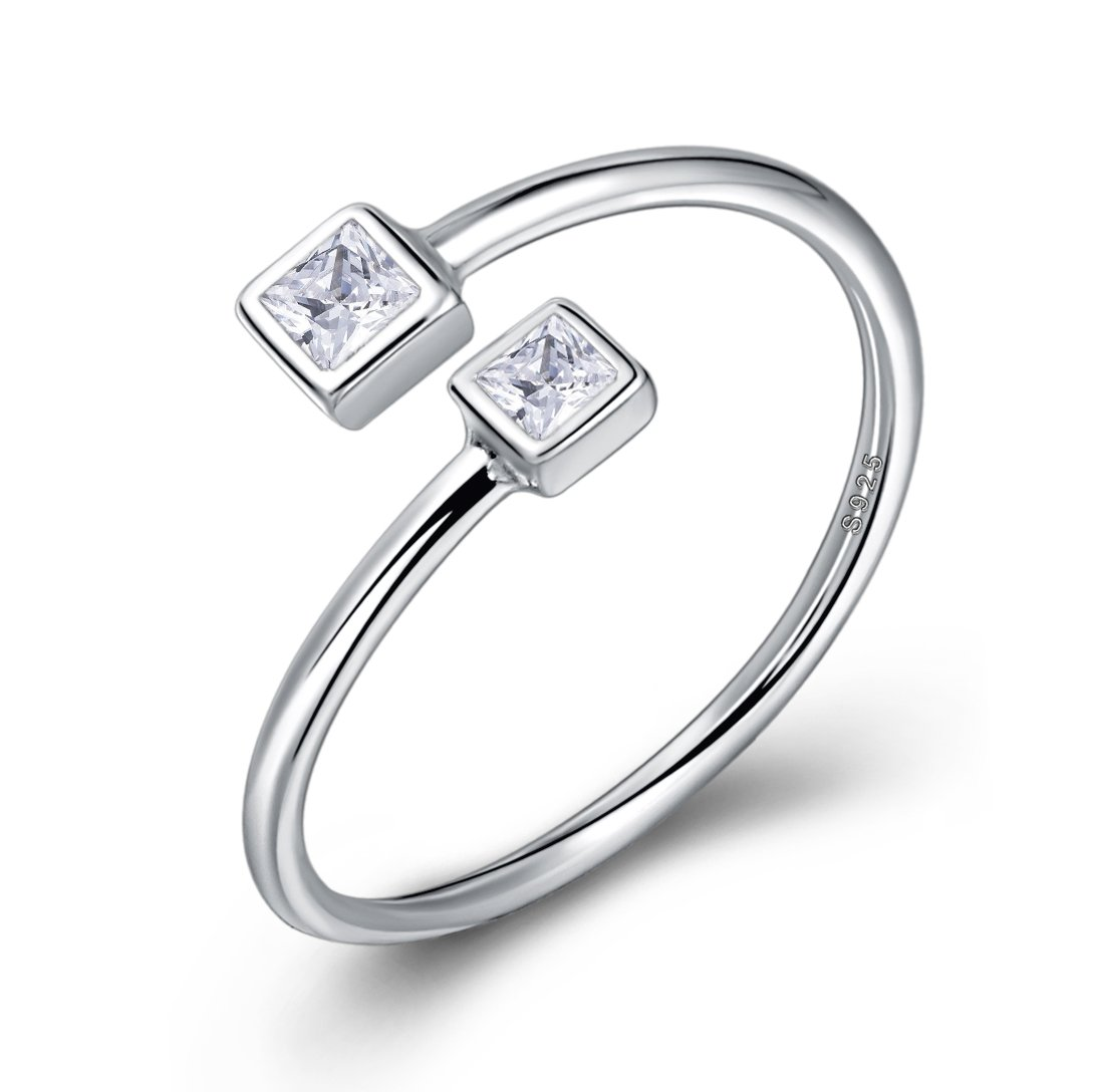Long Way Ring,925 Sterling Silver Adjustable Birthstones Cubic Zirconia Open Ring Fine Jewelry Women, Best Gift Mother Wife Girlfriend at Christmas Birthday