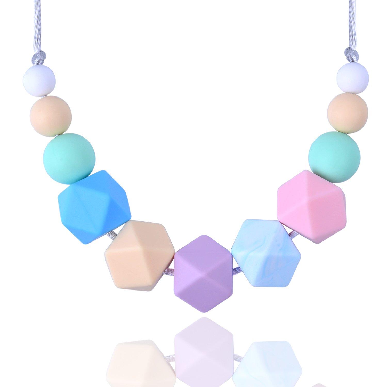 Baby Teething Necklace BPA Free Silicone Baby Nursing Hexagon Round Beads with Non-Poisonous Simplified Design (TYPE1) euhuton