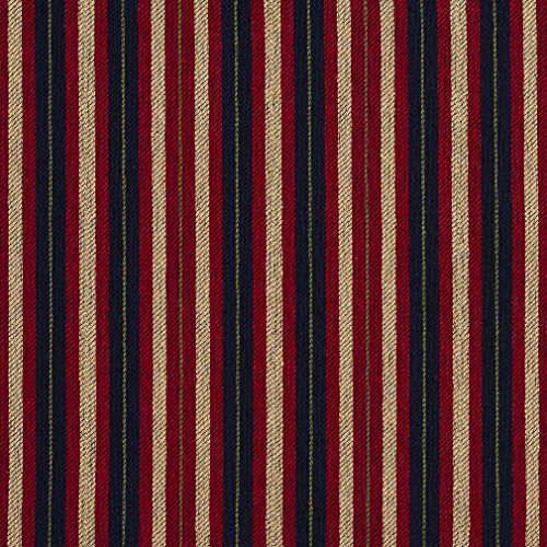 E821 Red, Black and Gold Striped Jacquard Upholstery Fabric By The Yard