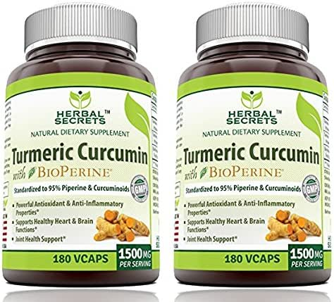 Herbal Secrets Turmeric Curcumin with Bioperine Dietary Supplement - 1500mg per Serving, 180 VCaps Per Bottle (Pack of 2)