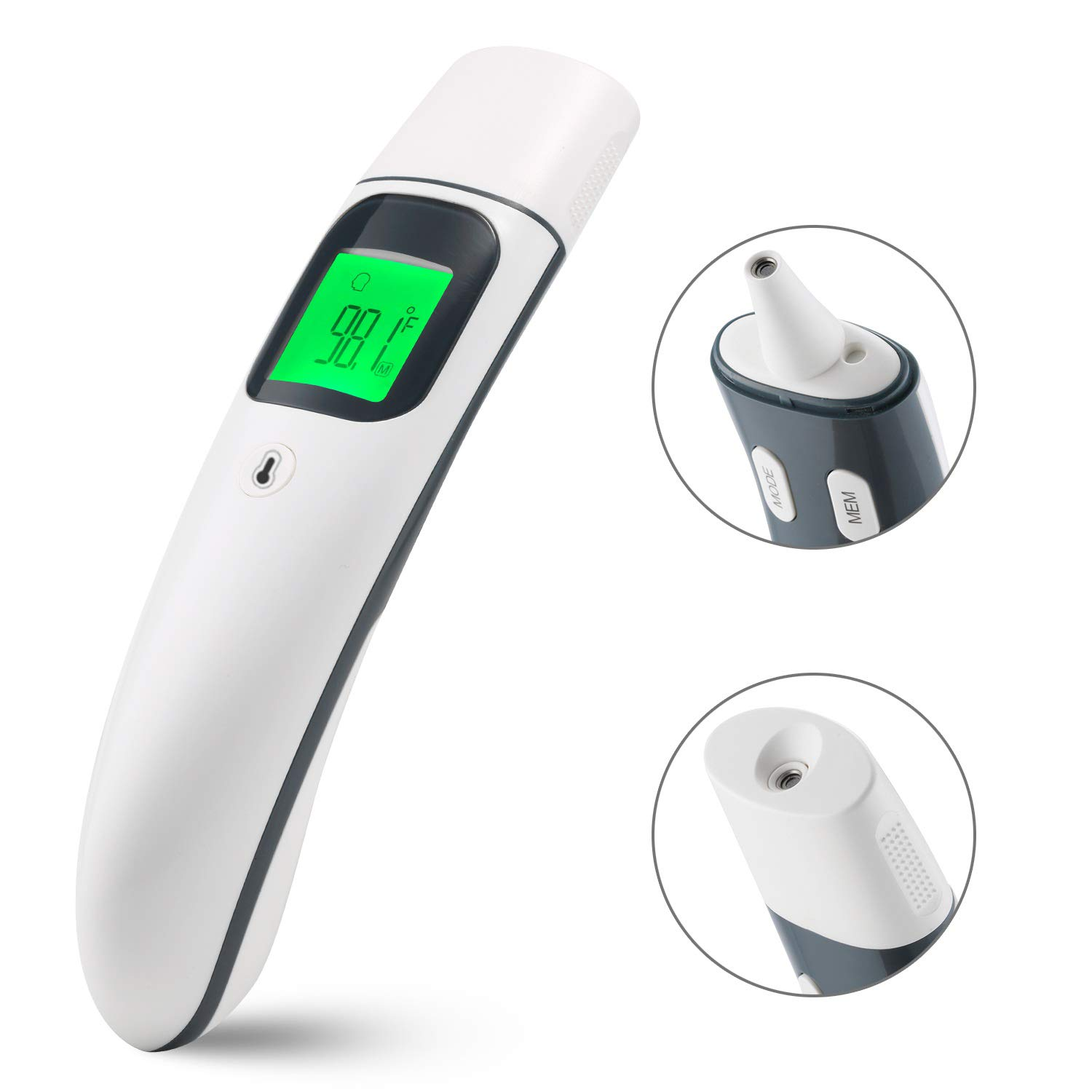 New Version FDA Approved Dual Functional Ear Thermometer with Forehead Function Instant Read for Baby and Adults, Digital Infrared Thermometer with Fever Indication