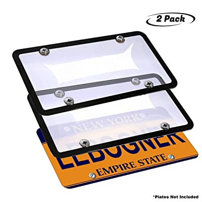 lebogner Car License Plates Shields and Frames Combo, 2 Pack Clear Bubble Design Novelty Plate Covers to Fit Any Standard US Plates, Unbreakable Frame & Covers to Protect Plates, Screws Included: Automotive