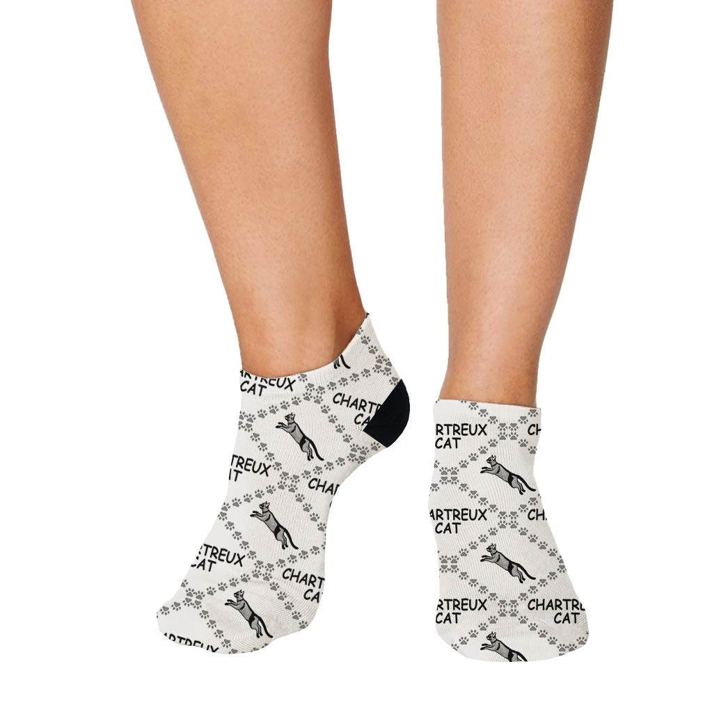 Chartreux Cat Paws Pattern #5 Men-Women Adult Ankle Socks Crazy Novelty Socks