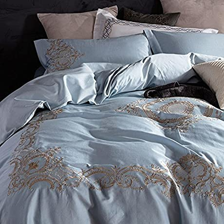 YQMS 60 Pieces Of Pure Color Satin Embroidery Four Sets Of Cotton Bedding A