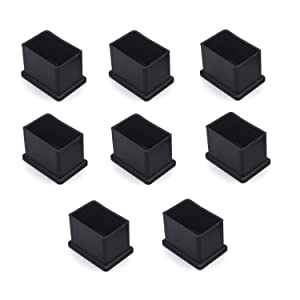 """Antrader 1"""" x 1-1/2"""" Rectangle Shaped Furniture PVC Rubber Pads Table Chair Leg Foot End Caps Covers Protectors, Black, Pack of 8"""