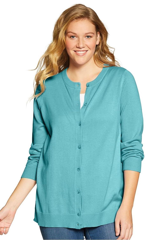Women's Plus Size Elbow-Sleeve Classic Cardigan Sweater at Amazon ...