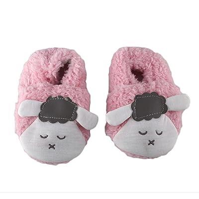 QHGstore Bébé Tout nourrisson Slipper Bottes mouton antidérapage douce et chaude Prewalker espadrille Crib Shoes 12cm rose