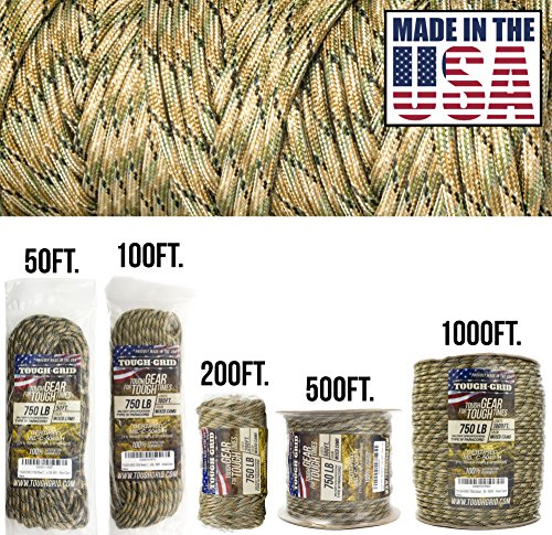 TOUGH-GRID 750lb Mixed Camo Paracord/Parachute Cord - Genuine Mil Spec Type IV 750lb Paracord Used by The US Military (MIl-C-5040-H) - 100% Nylon - Made in The USA. 500Ft. - Mixed Camo (Best Antenna Rotor Reviews)
