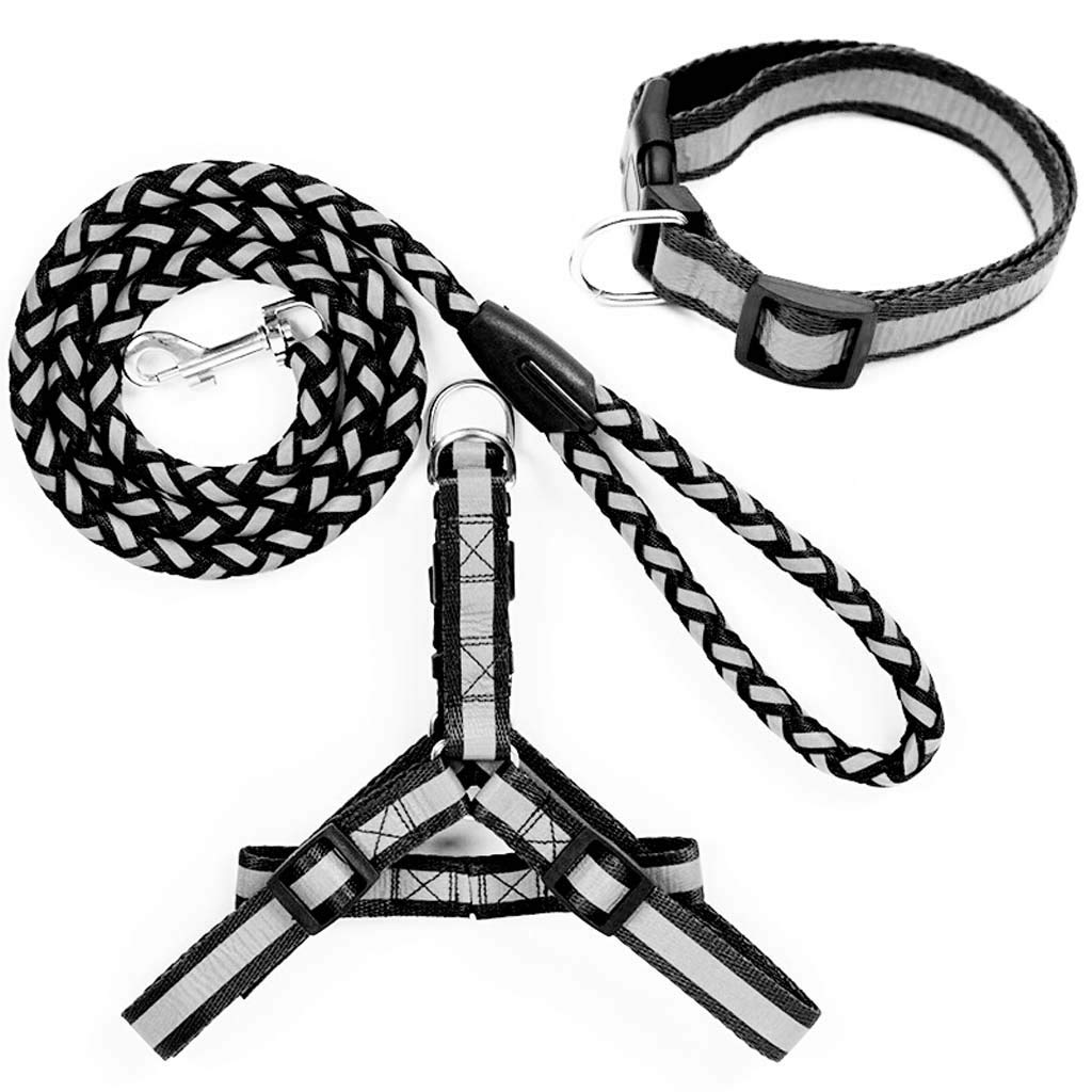 Siweike Durable Rope Twist Lead Pets Lead for Dogs Dog Traction Rope Traction Belt Pet Lead Dog Rope Walking Dog Rope Dog Chain Reflector Three Sets of Black 35 Kg Below by Siweike