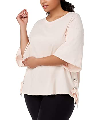 f13833f79f1829 Image Unavailable. Image not available for. Color  Calvin Klein Women s  Performance Plus Size Relaxed Bell-Sleeve Side-Tie Top ...