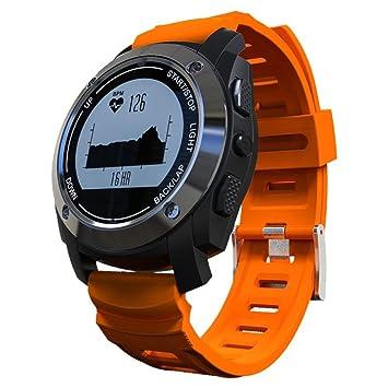 OOLIFENG Monitor de Pulso cardiaco GPS Reloj Inteligente Reloj Deportivo para Exteriores para Android 4.3/iOS 8.0 y Sistemas anteriores, Orange: Amazon.es: ...