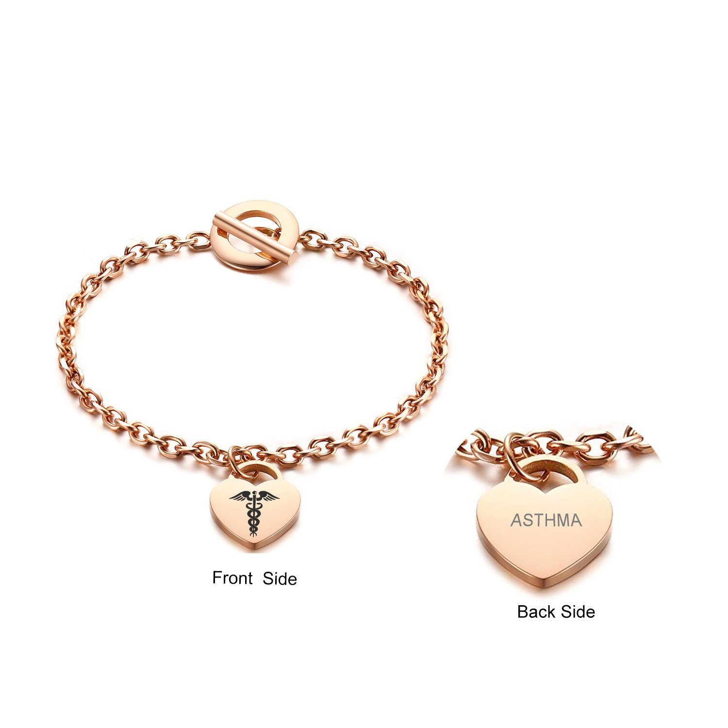 VNOX ASTHMA Medical Caduceus Heart Drop Toggle Clasp Bracelet Rose Gold Plated Stainless Steel,7.5''
